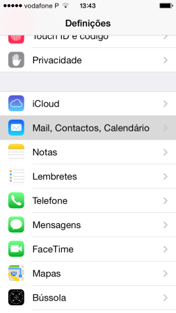 Configurar o seu e-mail no iPhone / iPad 1