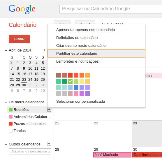 Importar Calendário do Google 1