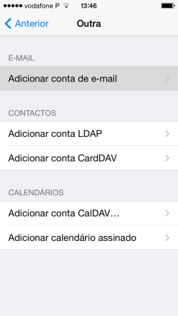 Configurar o seu e-mail no iPhone / iPad 4