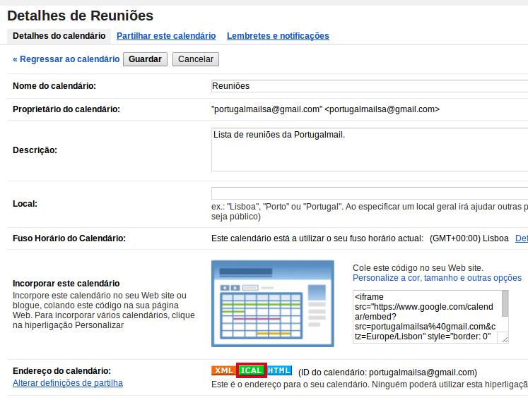Importar Calendário do Google 4