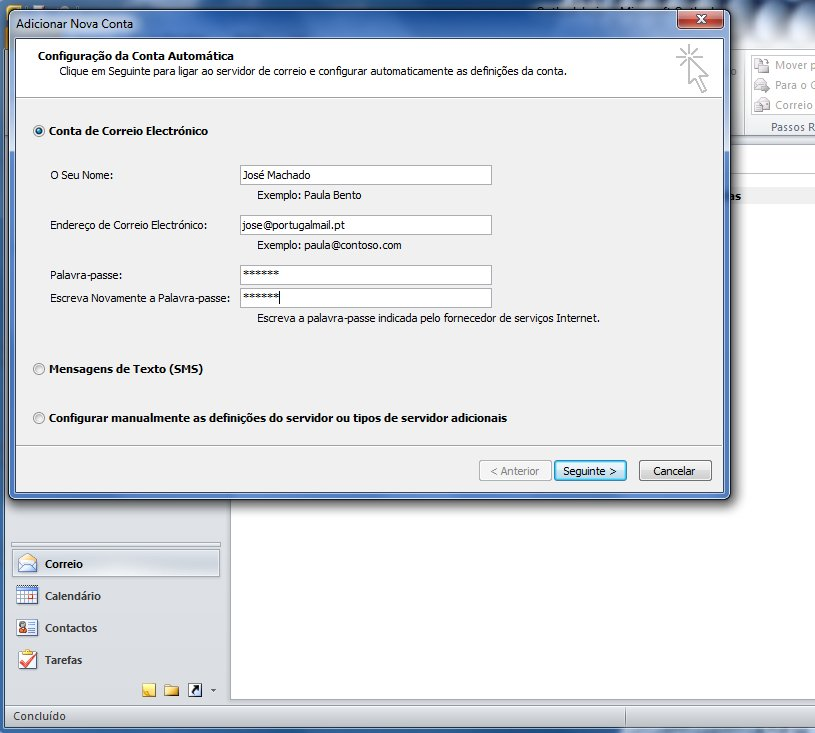 Outlook 2010 - Email Gratuito Portugalmail 2