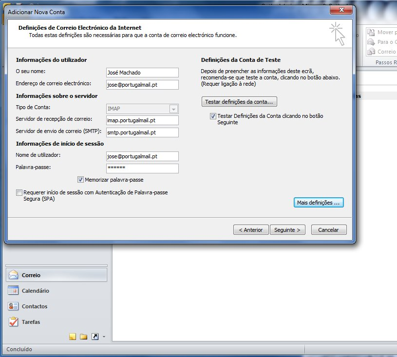 Outlook 2010 - Email Gratuito Portugalmail 5